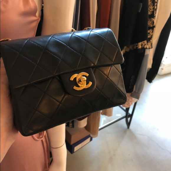 CHANEL Bags   Sold Black Quilted 24k Cc Square Mini Flap   Poshmark a11dabaaf0